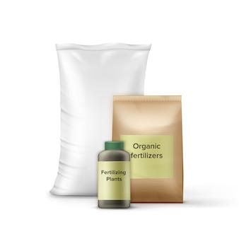 Juego de botella y bolsas con fertilizante para jardinería