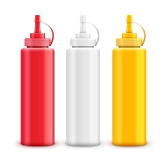 Juego de botellas de salsa roja, blanca y amarilla