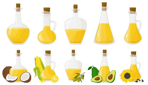 Un juego de botellas de vidrio con diferentes aceites. aceites de oliva, girasol, maíz, coco y aguacate. diseño plano, vector