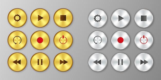 Juego de botones de reproducción dorado y plateado