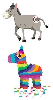 Juego de burros y piñatas.