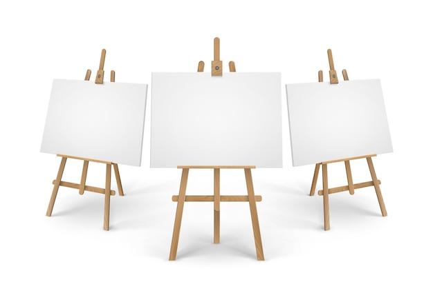 Juego de caballetes de madera siena marrón con lienzos vacíos en blanco