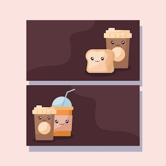Juego de café y bebidas con carácter kawaii.