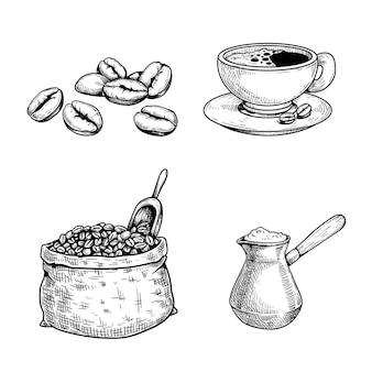 Juego de café de bosquejo. granos de café y bolsa con cuchara, taza de café, cafetera turca cezve. ilustraciones dibujadas a mano. aislado