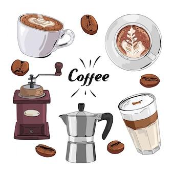 Juego de café dibujado a mano