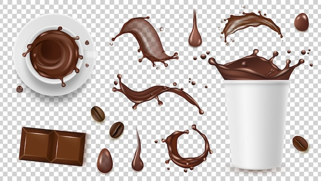 Juego de café realista. beba salpicaduras, granos de café y taza para llevar, chocolate aislado sobre fondo transparente