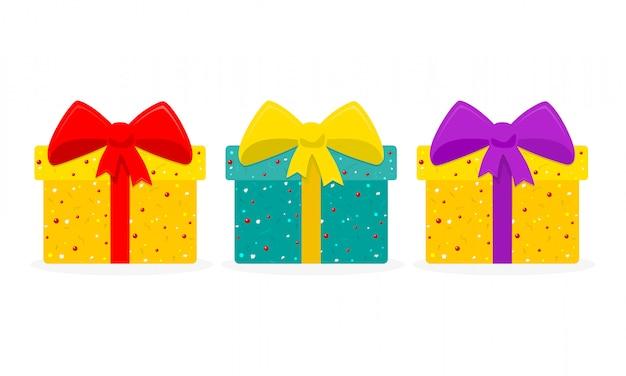 Juego de cajas de regalo. ilustración