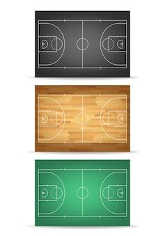 Juego de canchas de baloncesto en diferentes colores: verde, madera y balck. vista superior.