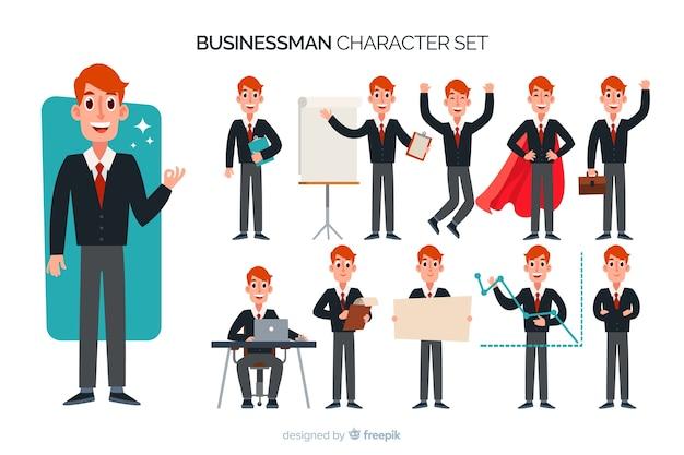 Juego de caracteres de buen hombre de negocios