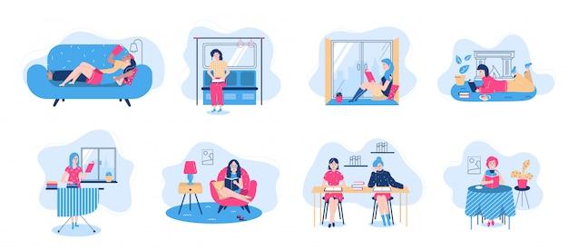 Juego de caracteres de la gente de los libros de lectura con los libros en las actitudes que se sientan, ilustración aislada lieyng.