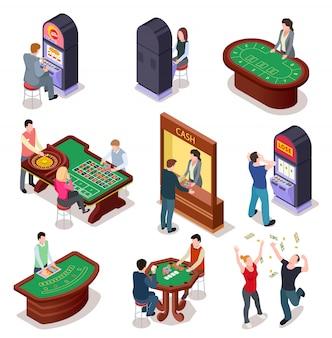Juego de caracteres isométricos de casino. mesa de ruleta de póker, máquinas tragamonedas en la sala de juego. discoteca entretenimiento casino juegos de azar 3d vector set