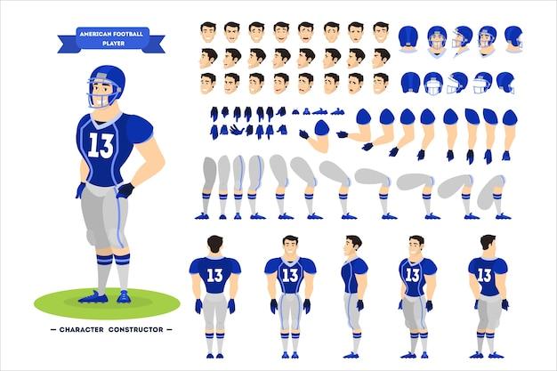 Juego de caracteres de jugador de fútbol americano para la animación.