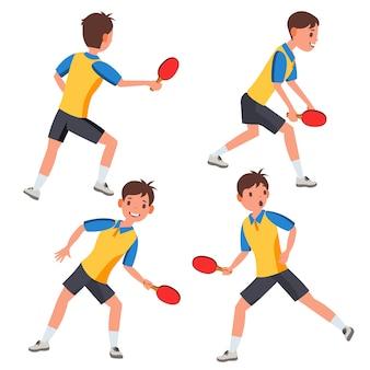 Juego de caracteres del jugador masculino de tenis de mesa