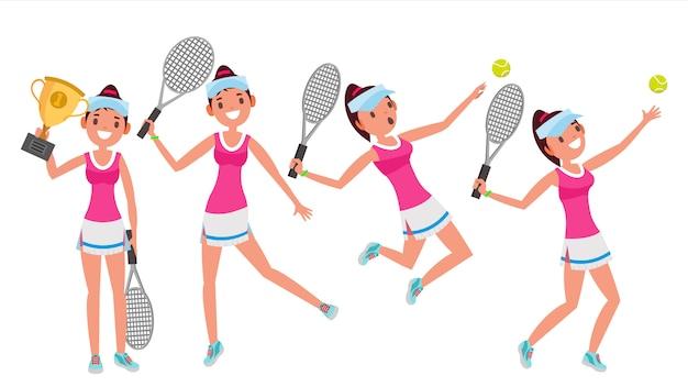 Juego de caracteres de jugador de tenis