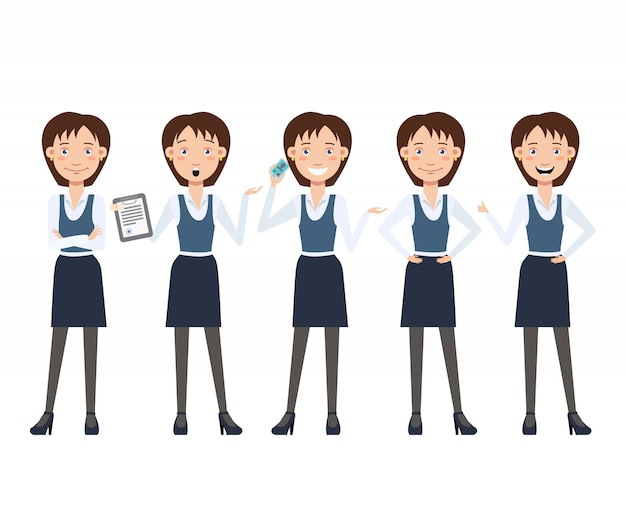 Juego de caracteres multitarea de negocios para dama con diferentes poses.