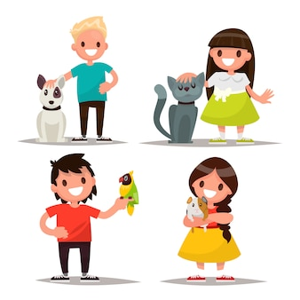 Juego de caracteres. niños con mascotas.