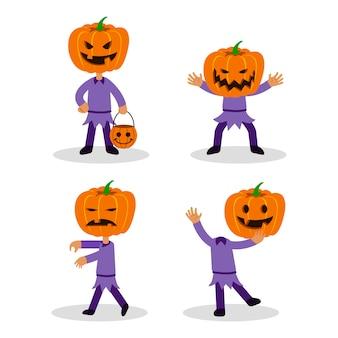 Juego de caracteres planos jack pumpkin lantern