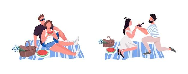 Juego de caracteres sin rostro de color plano de picnic. actividad de ocio para dos personas. proponer matrimonio. ilustración de dibujos animados aislados recreación al aire libre para diseño gráfico web y colección de animación
