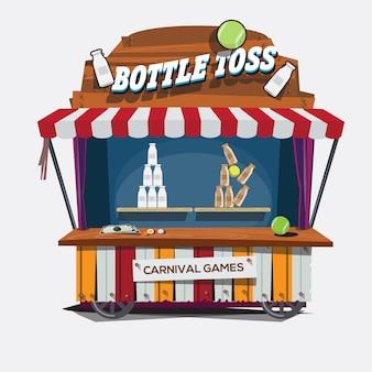 Juego de carnaval. lanzamiento de botella de leche.