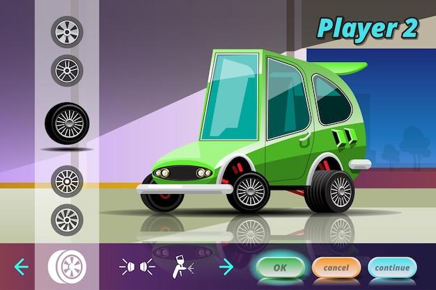 Juego de carreras de coches en el menú de visualización