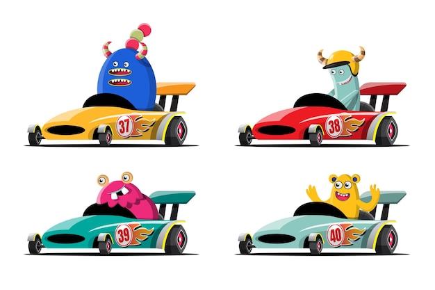 En el juego de carreras de velocidad, el jugador conductor de monstruos usó un coche de alta velocidad para ganar en el juego de carreras.
