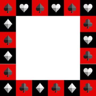 Juego de cartas tablero de ajedrez borde rojo y negro