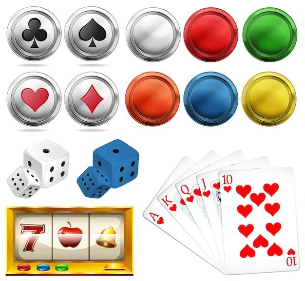 Juego de casino con fichas y tarjetas