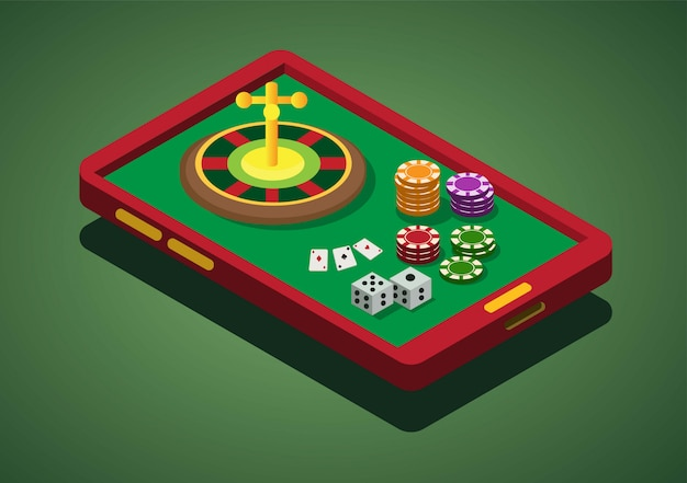 Juego de casino en línea, teléfono inteligente, ruleta, apuestas, dominó, póker, fichas, dados, ilustración isométrica