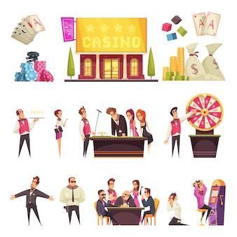 Juego de casino de personajes de estilo humano de dibujos animados aislados jugando tarjetas de construcción de casas y montones de fichas