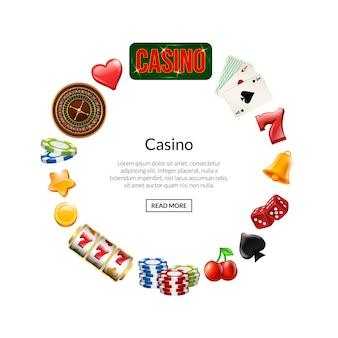 Juego de casino realista vector en círculo