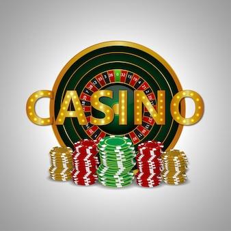 Juego de casino con ruleta vip, fichas y monedas de oro.