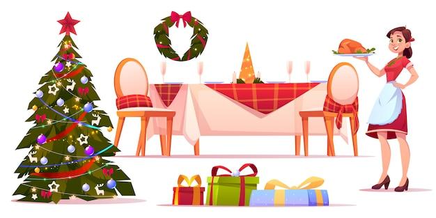 Juego de cena de navidad, mujer sosteniendo la bandeja con turquía