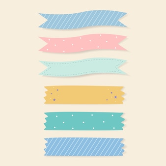 Juego de cintas adhesivas estampadas de colores.