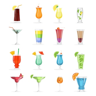 Juego de cóctel. colección de bebida alcohólica en vaso.