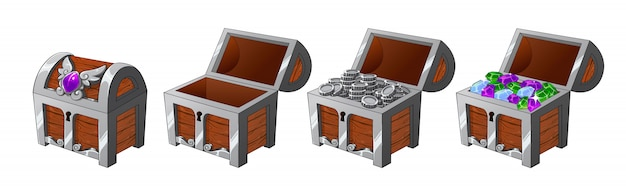 Juego de cofres plateados de madera con monedas y diamantes para el juego.