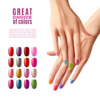 Juego de uñas de colores, manos, manicura, póster.