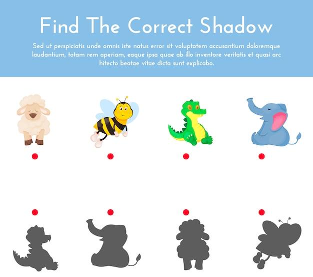 Juego de combinación de sombras de animales y sus formas