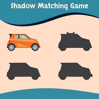 Juego de combinación de sombras, coche colorido, vector premium bueno para la educación y colección de los niños