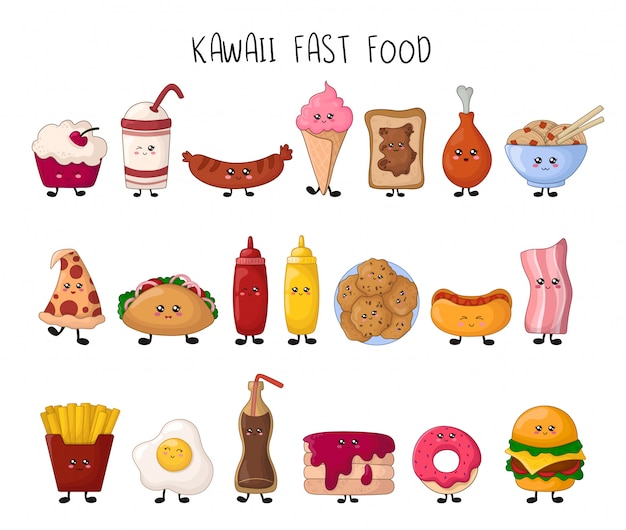 Juego de comida rápida kawaii - dulces, comida chatarra, hamburguesa