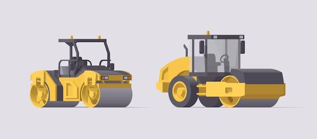 Juego de compactadores de rodillos de asfalto. ilustración. colección