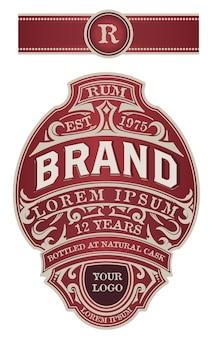 Juego completo de etiquetas para envasado de licor. ginebra, whisky u otros productos