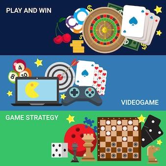 Juego de consola de videojuegos de casino en línea jugar concepto de juego de sitio web plano.
