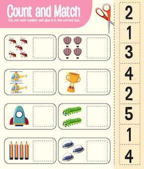 Juego de contar y combinar, hoja de trabajo de matemáticas para niños.