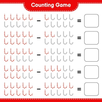 Juego de contar, contar el número de bastones de caramelo y escribir el resultado. juego educativo para niños