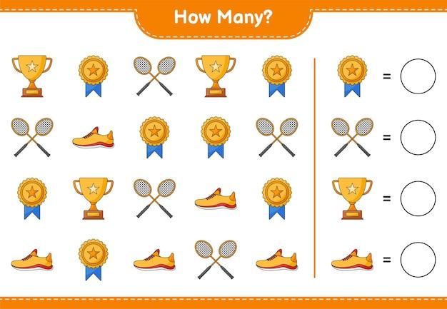 Juego de contar cuántos zapatos para correr de trofeo y raquetas de bádminton juego educativo para niños