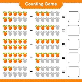 Juego de contar, cuenta el número de ximenia y escribe el resultado. juego educativo para niños, hoja de trabajo imprimible