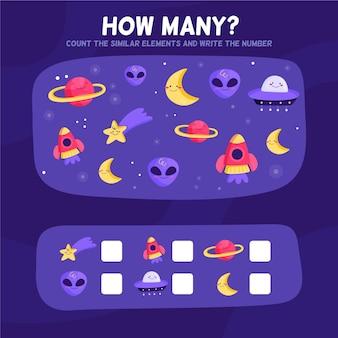 Juego de contar con elementos espaciales.
