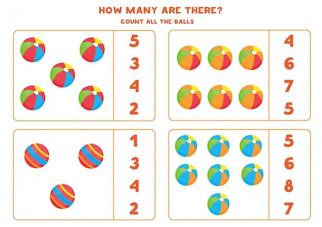 Juego de contar para niños. bolas de juguete de dibujos animados lindo.