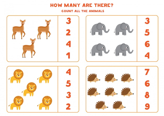 Juego de contar para niños. ¿cuántos animales salvajes hay?