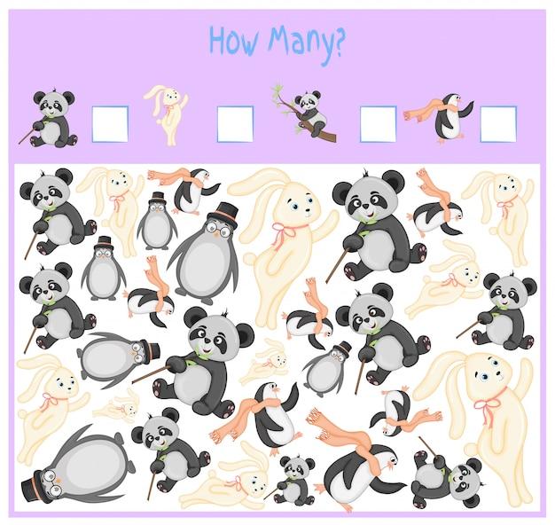 Juego de contar para niños en edad preescolar. un juego educativo matemático.